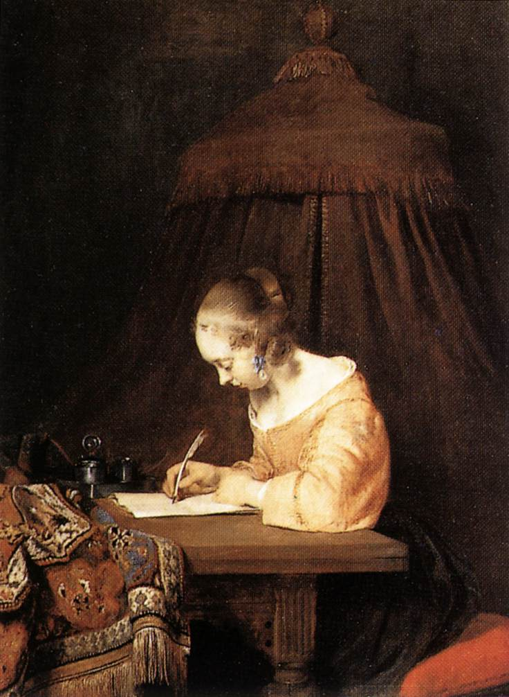 Woman Writing A Letter, c.1655 - Gerard Terborch - WikiArt.org