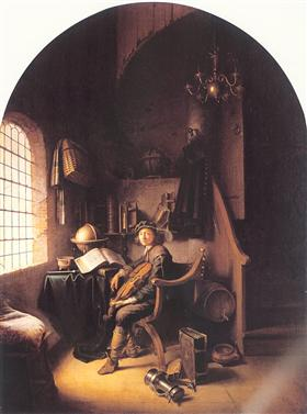 Interior with a Young Violinist - Gerrit Dou