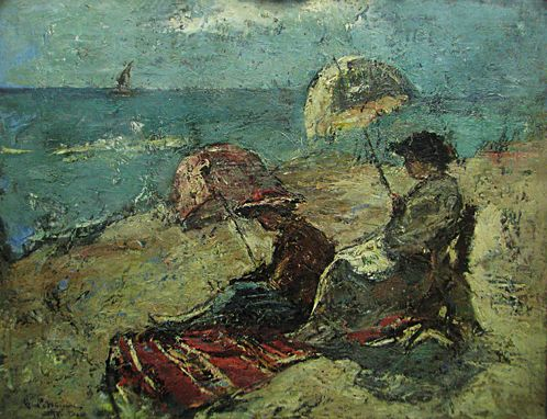 On the Falaise, Under the Umbrella, 1921 - Георге Петрашку