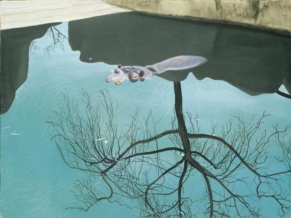 Gilles Aillaud Hippotame et arbre l39envers Gilles Aillaud WikiArtorg