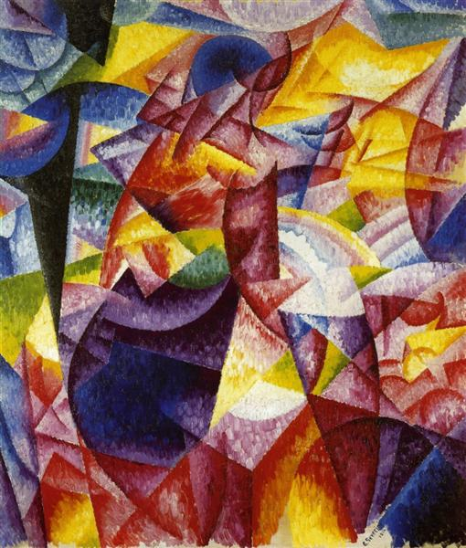 Simultaniety of Centrifugal and Centripedal Groups (Woman at a Window), c.1914 - Gino Severini