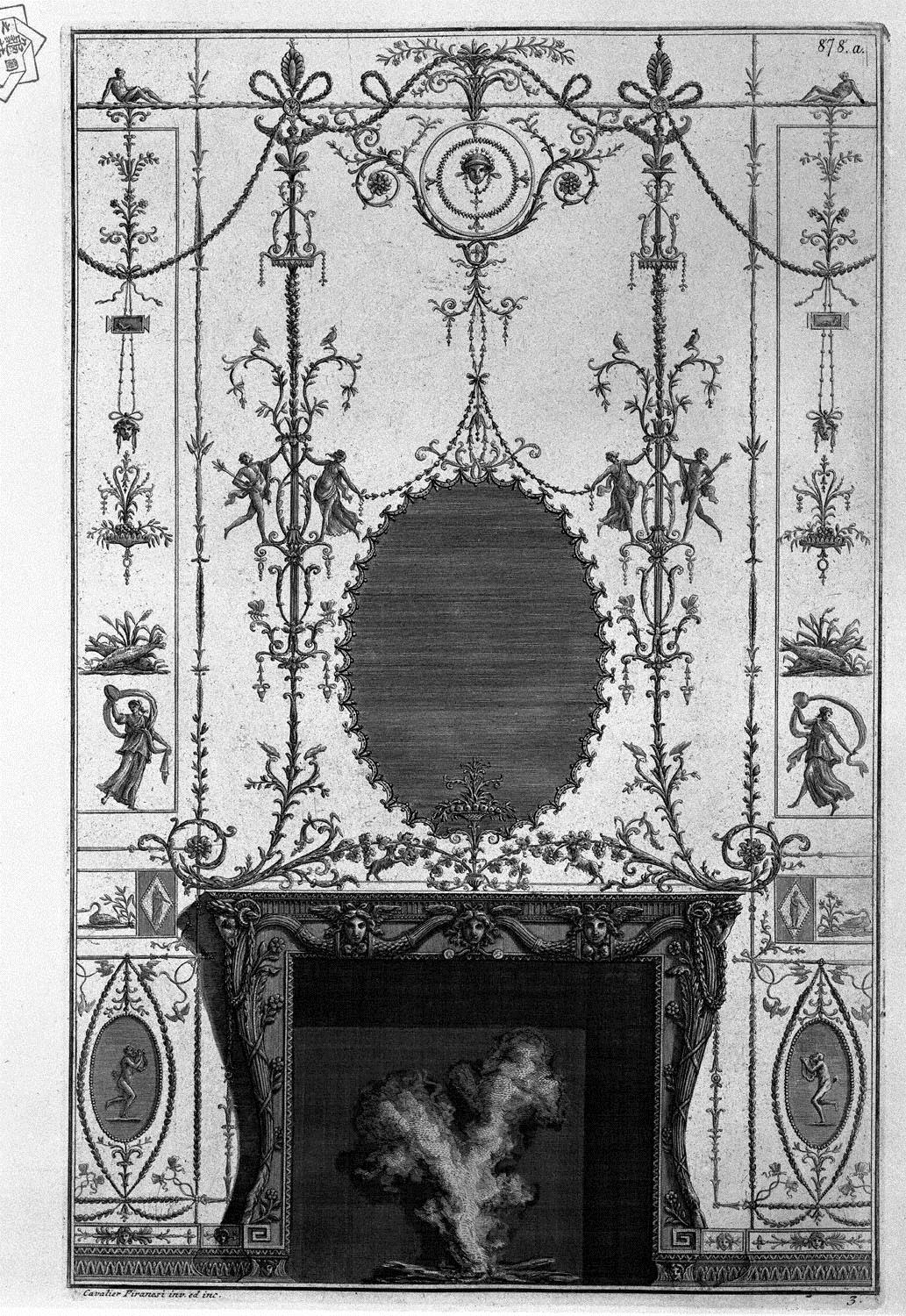 Fireplace: in the frieze of Medusa heads 3 horns of plenty joined ...