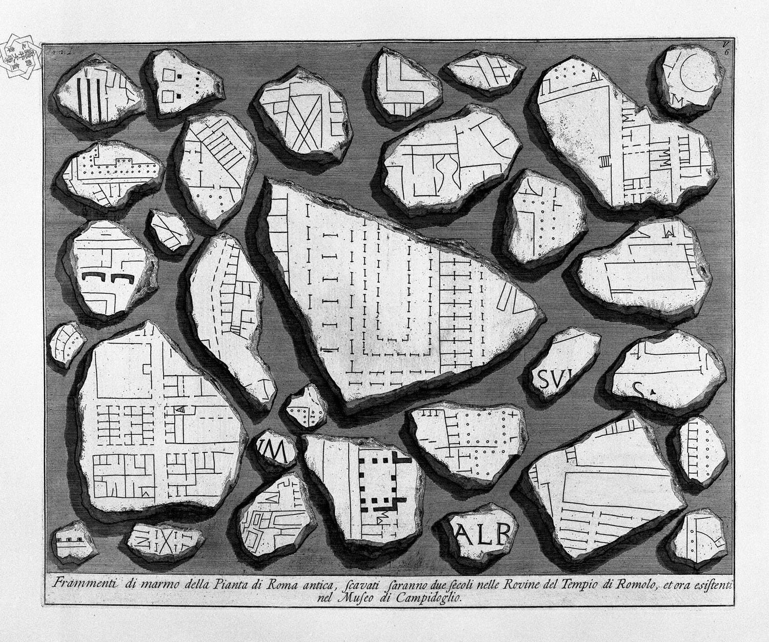 The Roman antiquities, t. 1, Plate V.  Map of ancient Rome and Forma Urbis., 1756