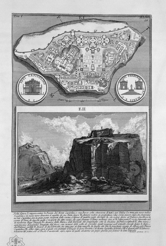 The Roman antiquities, t. 1, Plate XLIII. Plan of the ancient Roman Forum, 1756