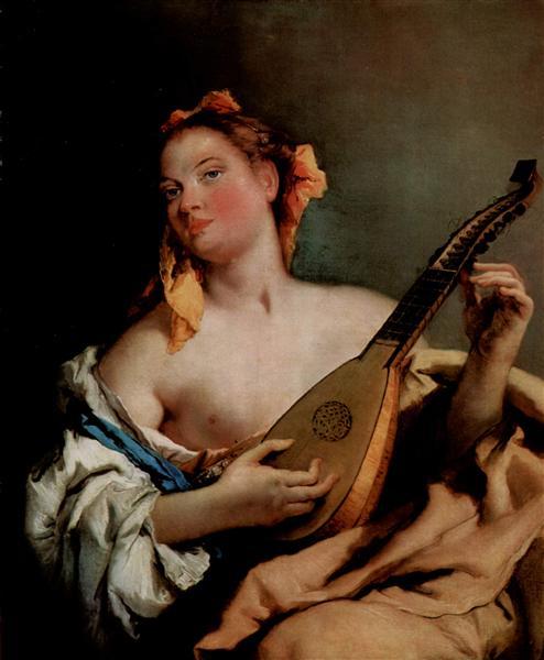 Girl with a Mandolin, c.1758 - c.1760 - Giovanni Battista Tiepolo