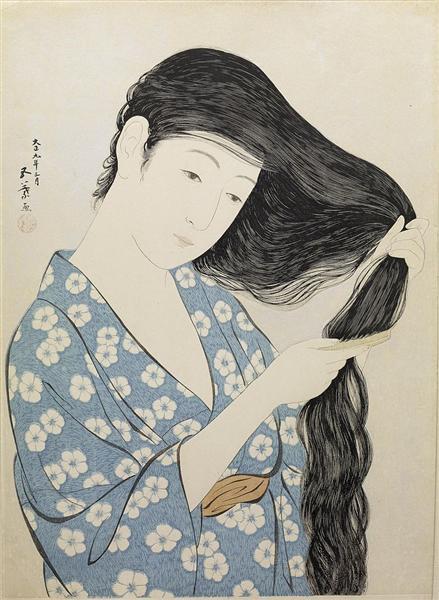 Kamisuki (Combing the hair), 1920 - Hashiguchi Goyō