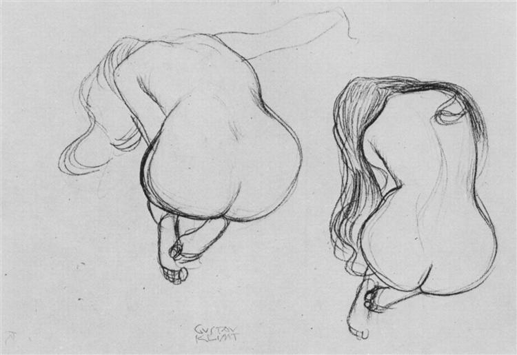 Two Studies of Sitting Nudes, 1901 - 1902 - Gustav Klimt