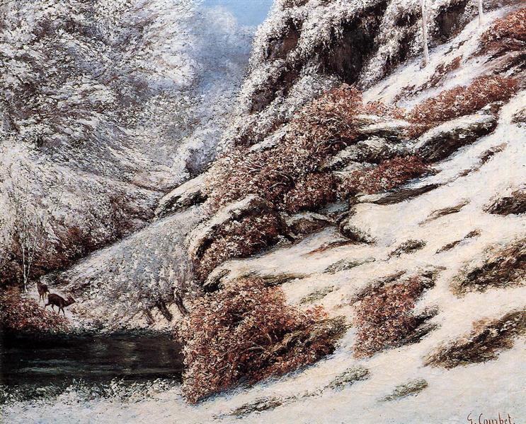 Deer in a Snowy Landscape, 1867 - Gustave Courbet