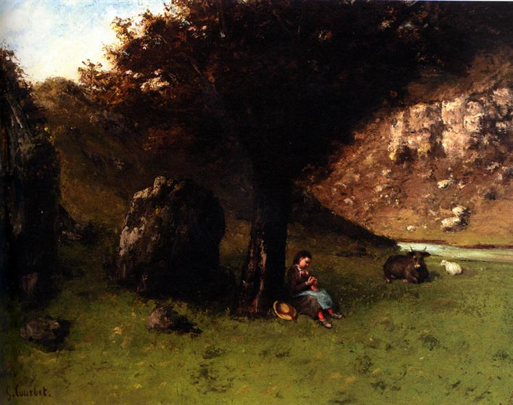 The Young Shepherdess - Gustave Courbet