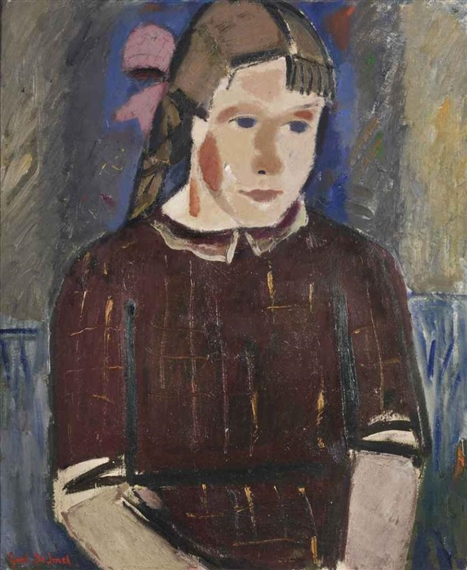 Girl with a pink ribbon, 1935 - Gustave de Smet