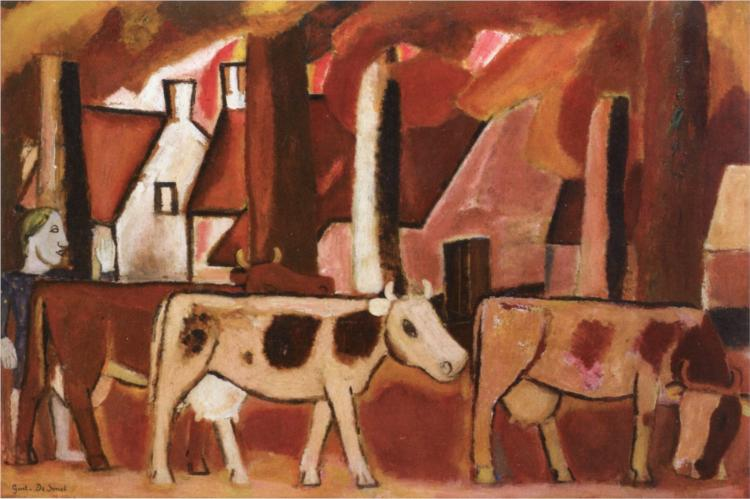 Leading Cows to the Stall, 1933 - Gustave de Smet
