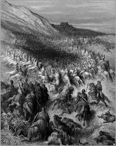 Crusaders surrounded by Saladin's army - Gustave Dore