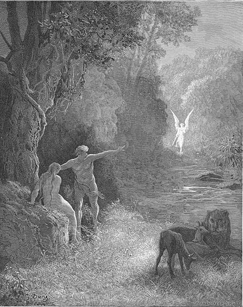 Eastward amoung those trees, what glorious shape Comes this way moving - Gustave Dore