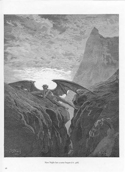 Plate no. 26 Book VI line 406 'Now Night her Course began..' - Dore Gustave