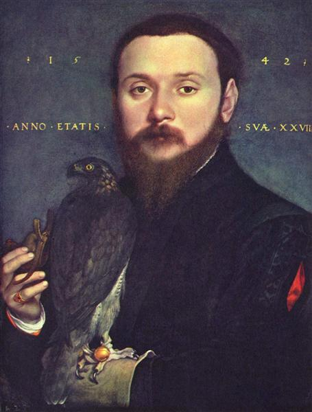Portrait of Nobleman with a falcon, 1542 - Hans Holbein der Jüngere