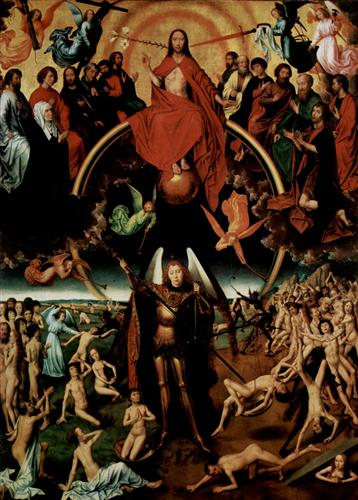 The Last Judgment, triptych, central panel Maiestas Domini with Archangel Michael weighing the souls - Hans Memling