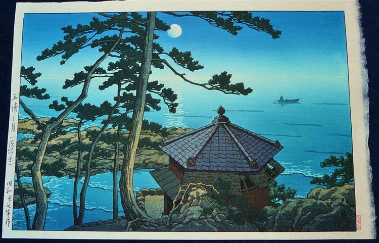 Full Moon at Izu-ura, Ibaraki, 1952 - Hasui Kawase