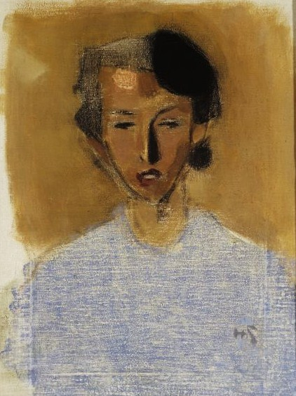 Portrait of a Girl in Blue and Brown (Inez), 1944 - Хелена Шерфбек