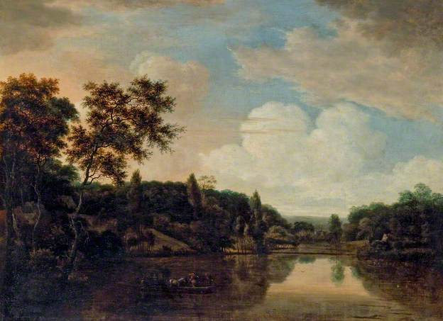 Ferry Boat on a River, Trees on a Hill to the Left - Hendrick Cornelisz Vroom