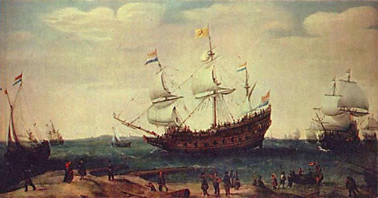 The Departure of the East Indiamen, 1630 - Хендрік Корнеліс Врум