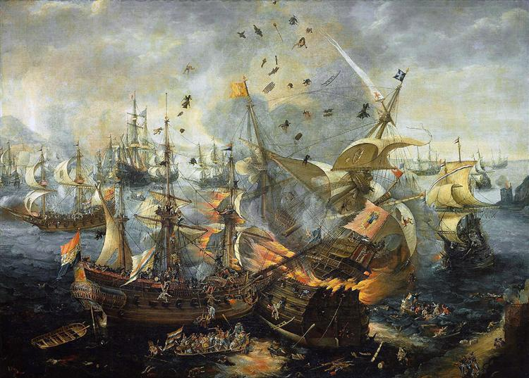 The explosion of the Spanish flagship during the Battle of Gibraltar, 25 April 1607, c.1621 - Hendrick Cornelisz Vroom