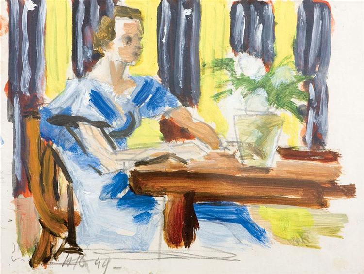 Interior with girl, 1949 - Henri Catargi