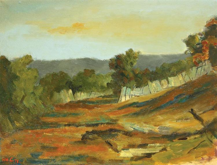 Landscape from Arges Valley, 1971 - Henri Catargi