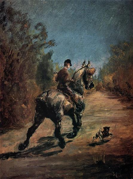 Horse and Rider with a Little Dog - Henri de Toulouse-Lautrec