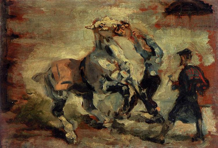 Horse Fighting His Groom - Henri de Toulouse-Lautrec