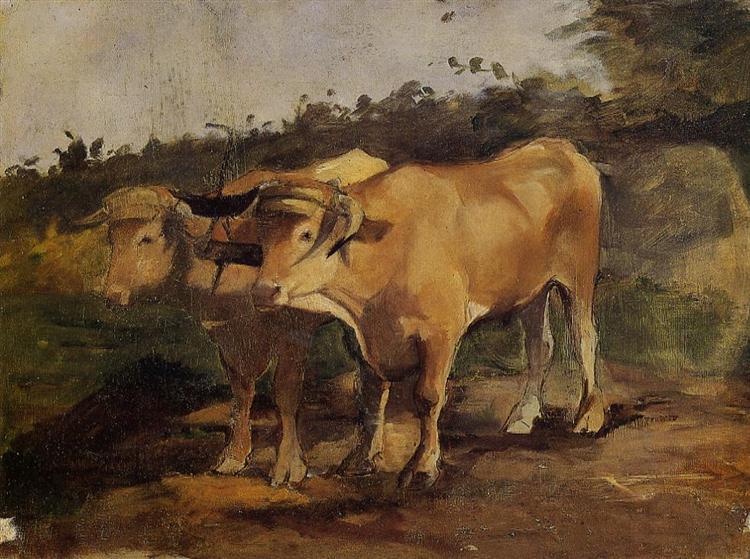 Two Bulls Wearing a Yoke, 1881 - Henri de Toulouse-Lautrec