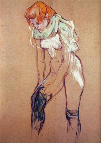 Woman Putting on Her Stocking, 1894 - Henri de Toulouse-Lautrec