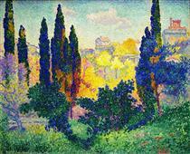 The Cypresses at Cagnes - Henri-Edmond Cross