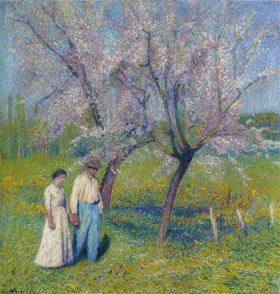 Brides walk under the apple trees - Henri Martin