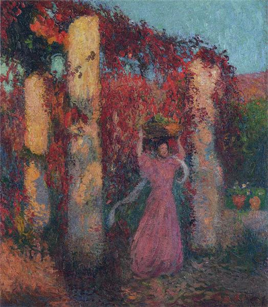 Young Woman in Vigne Vierge Rouge - Henri Martin