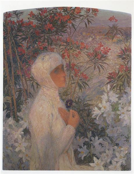 Young Woman with Flowers - Henri Martin