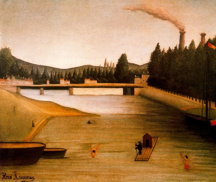 Bathing at Alfortville, c.1904 - Henri Rousseau