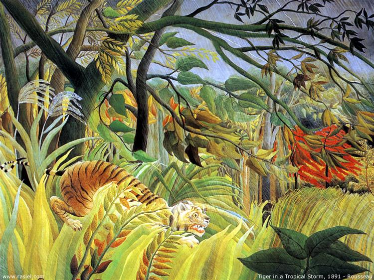 Tiger in a Tropical Storm (Surprised!) - Rousseau Henri