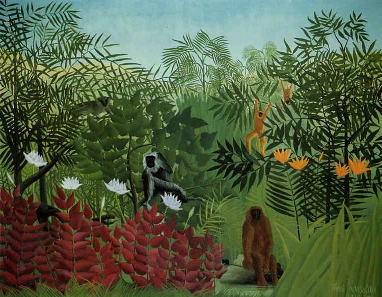Tropical Forest with Apes and Snake, 1910 - Henri Rousseau