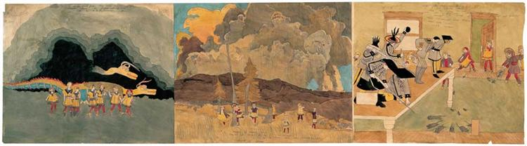 To escape forest fires they enter a volcanic cavern - Henry Darger