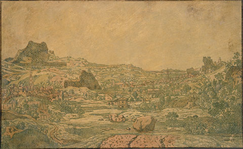 Town with four towers, c.1631 - Hercules Seghers