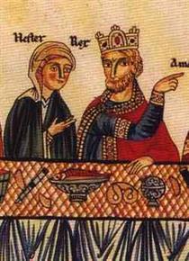 Esther and Ahashuerus at a banquet - Herrad of Landsberg