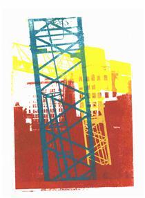 'Modern City' No 2. - mono-print art, 2010; Dutch artist, Hilly van Eerten - Hilly van Eerten