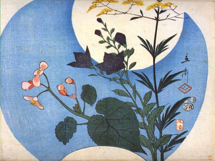 Autumn flowers in front of full moon, 1853 - Hiroshige