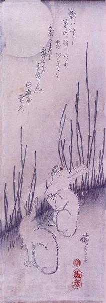 Rabbits Under Moon - Hiroshige