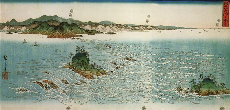 Whirlpools on a rocky coast - Hiroshige