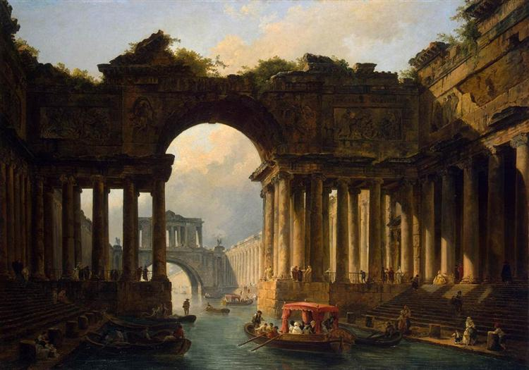 Architectural Landscape with a Canal - Robert Hubert