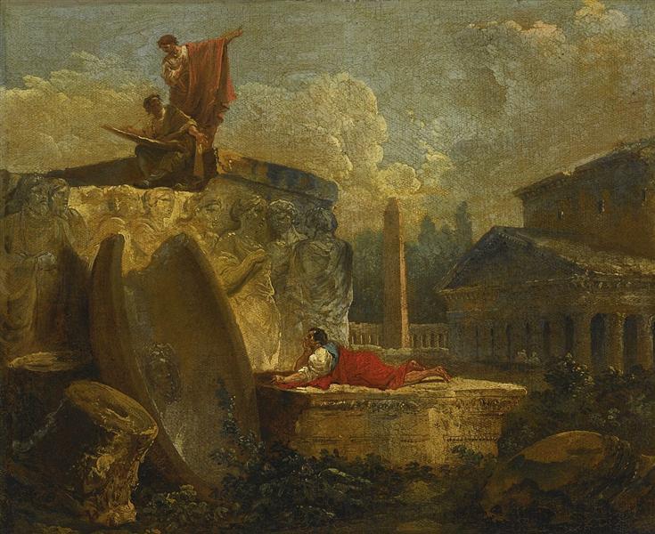 Draughtsmen in a Landscape with Antique Ruins, 1789 - Hubert Robert