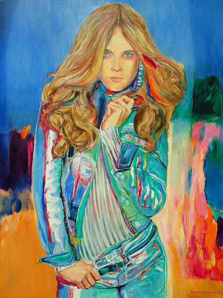 Russian Supermodel at the Catwalk in oil painting - Hubertine Heijermans