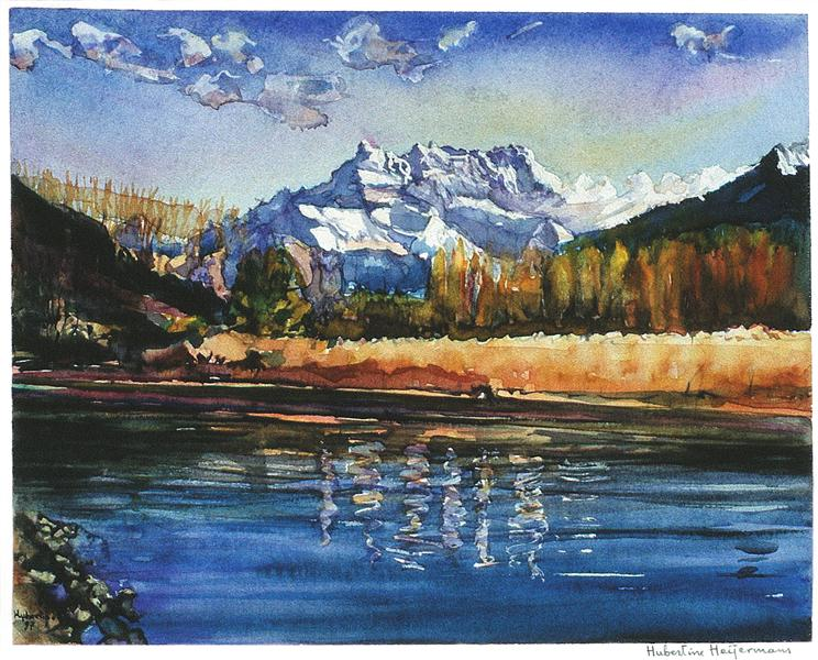 Small river Eau-froide seen in Villeneuve, with mountain landscape of Dents-du-Midi - watercolor painting, 1997 - Hubertine Heijermans