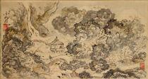 Landscape with Pavilion, Hanging Scroll - Ike no Taiga